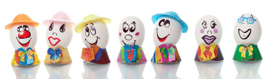 Easter eggs with faces Royalty Free Stock Photos