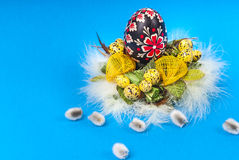 Easter eggs with feathers and pussy willow Stock Images