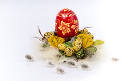 Easter eggs with feathers and pussy willow. Easter eggs red-yellow with feathers and pussy willow and green leafs on white background Stock Images
