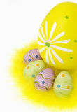 Easter eggs and feathers on white background Stock Photos