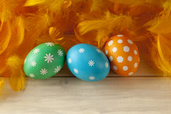 Easter eggs and feathers on wooden boards Royalty Free Stock Photos