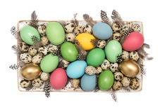 Easter eggs. Festive decoration on white Stock Photos