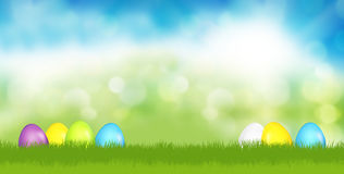 Easter eggs festive green grass blue sky 3d render. Illustration Stock Image
