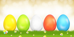 Easter eggs festive green grass golden sky 3d render. Illustration Royalty Free Stock Images
