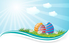 Easter eggs in field Royalty Free Stock Photography