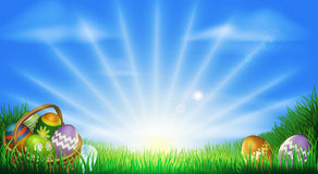 Easter eggs field background Stock Images