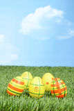 Easter eggs in field with sky Royalty Free Stock Image