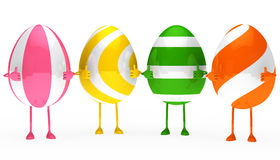 Easter eggs figure. Four colorful easter eggs figure show top Royalty Free Stock Images