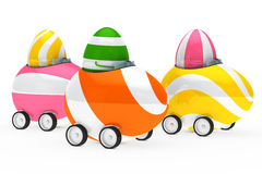 Easter eggs figure. Colorful easter eggs figure sit in car Royalty Free Stock Photography
