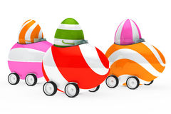 Easter eggs figure. Colorful easter eggs figure sit in car Stock Images