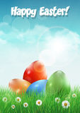 Easter eggs on a filed with flowers. Royalty Free Stock Photo
