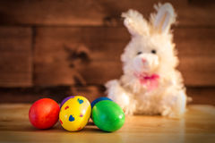 Easter Eggs. Five Eastern eggs with the Eastern Rabbit Royalty Free Stock Photos