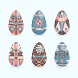Easter eggs flat style collection. Spring holiday. Happy Easter. Set of Easter eggs with different ornament on a white background stock illustration