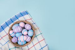 Easter eggs flatlay royalty free stock photos