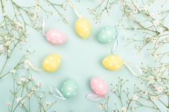 Easter eggs on floral background stock photography
