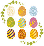 Easter eggs with floral corners. Set of nine  easter eggs with floral elements Royalty Free Stock Photo