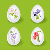 Easter eggs with floral decoration Royalty Free Stock Photo