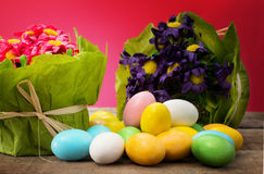 Easter eggs with floral decorations Royalty Free Stock Image