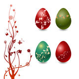 Easter Eggs with floral elements Stock Photo