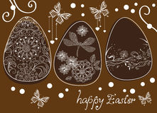 Easter eggs with floral elements Stock Photography