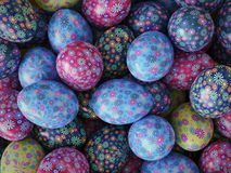 Easter eggs with floral patterns. 3D render of background of colorful easter eggs with floral patterns Stock Image
