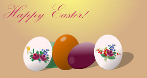 Easter eggs with florals illustration Stock Image