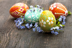 Easter eggs and flower. Easter eggs decoration and flower tilips Stock Photos