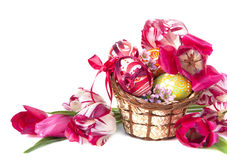 Easter eggs and flower Stock Image