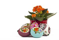 Easter eggs with flower Stock Images
