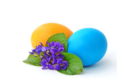 Easter eggs and flower stock photo