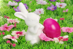 Easter eggs on flower meadow Stock Image