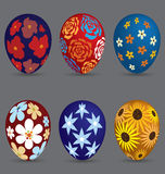 Easter Eggs with Flower Painted Stock Photography