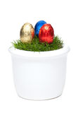 Easter eggs in a flower pot with grass Royalty Free Stock Photo