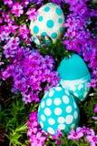 Easter eggs on flowering meadow. Royalty Free Stock Image