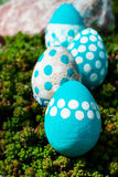 Easter eggs on flowering meadow. Royalty Free Stock Photos