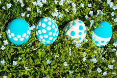Easter eggs on flowering meadow. Royalty Free Stock Images