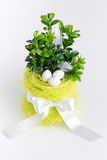 Easter eggs, flowerpot and ribbon on bright backgound Stock Images