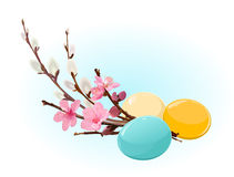 Easter eggs and flowers stock illustration