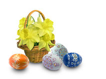 Easter eggs and flowers Royalty Free Stock Images