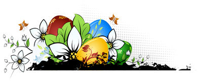 Easter Eggs with Flowers. Easter Background with Eggs Flowers and Butterfly Stock Image