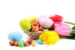 Easter eggs and flowers Stock Photography