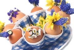 Easter eggs with flowers Royalty Free Stock Images