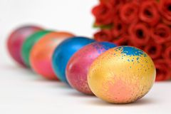 Easter Eggs and Flowers. On White stock photo