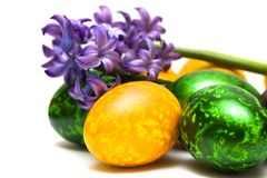 Easter eggs with flowers Stock Photos