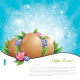 Easter eggs and flowers against blue sky. Easter eggs with green leaves and flowers against blue sky, vector illustration, eps-10 stock illustration