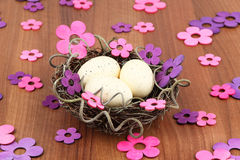Easter eggs flowers Royalty Free Stock Photo
