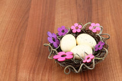 Easter eggs flowers Royalty Free Stock Image
