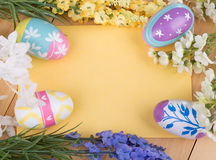 Easter Eggs and Flowers with Blank Envelope Royalty Free Stock Photos