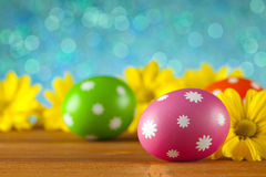 Easter eggs and flowers on blue background Stock Images