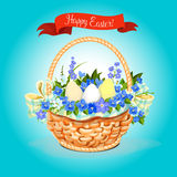 Easter eggs and flowers bunch basket vector poster Stock Photo